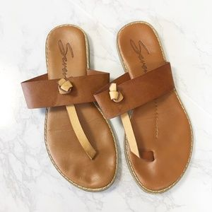 Seven7 Navo Tan T-Strap Sandals 6